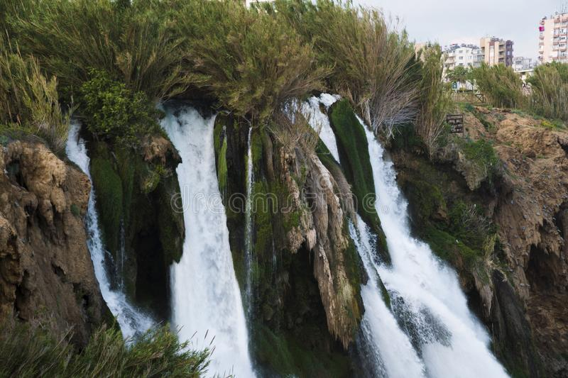 Duden Waterfalls falls into mediterranean sea at Antalya. Turkey stock photos