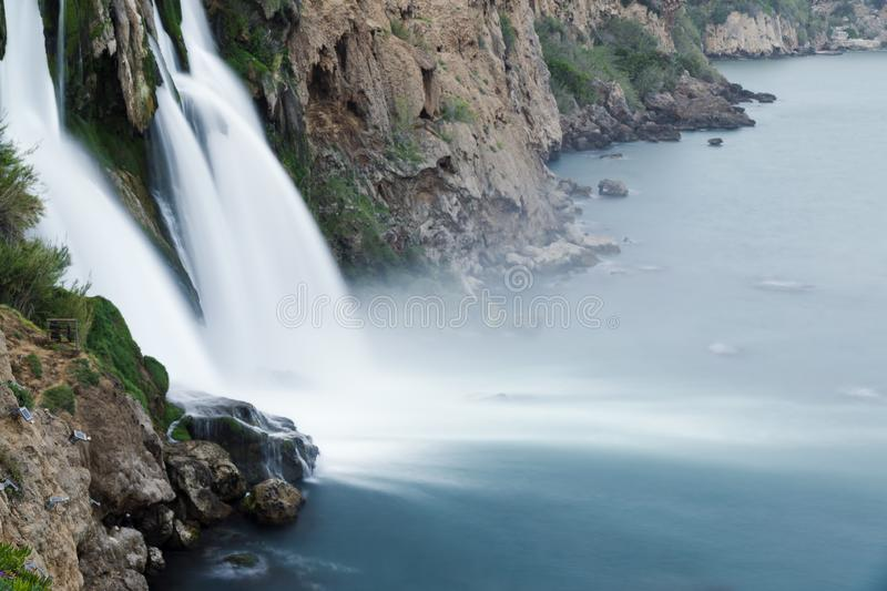 Duden Waterfalls falls into mediterranean sea at Antalya. Turkey royalty free stock photo