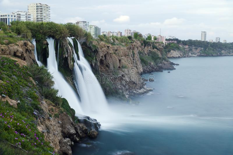 Duden Waterfalls falls into mediterranean sea at Antalya. Turkey stock images