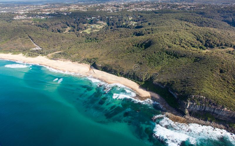 Dudley Beach - Newcastle Australia aerial view. Aerial view of Dudley Beach - Newcastle Australia. This beach is surrounded by state park and is a popular beach royalty free stock photo