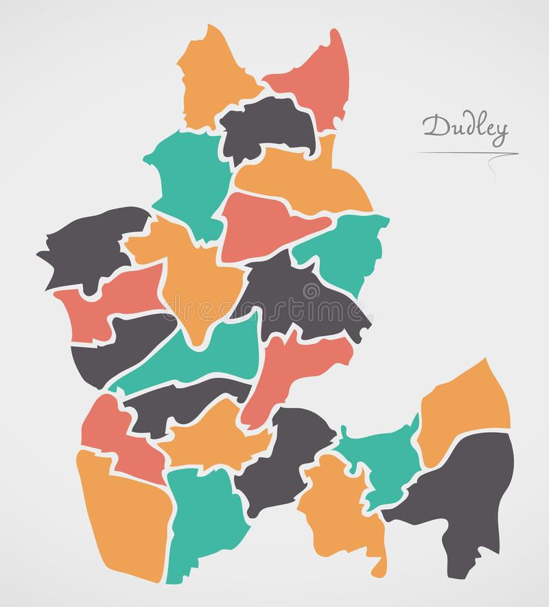 Dudley Map with wards and modern round shapes. Illustration royalty free illustration