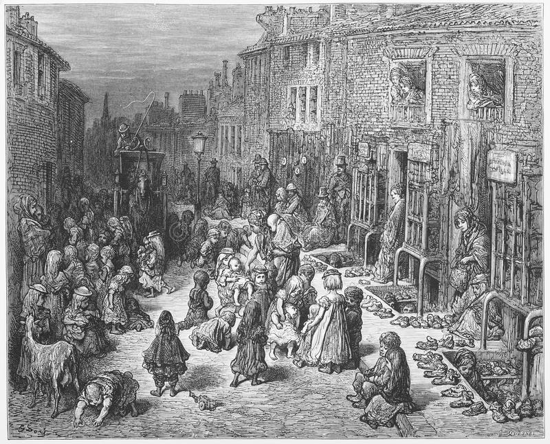 Dudley Street, Seven Dials. Picture from Gustave Dore's London: a Pilgrimage illustrated book published in 1873, London - UK