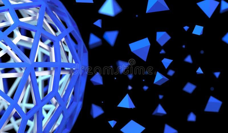 Dudniąca sfera Z Chaotycznymi ostrosłup cząsteczkami royalty ilustracja
