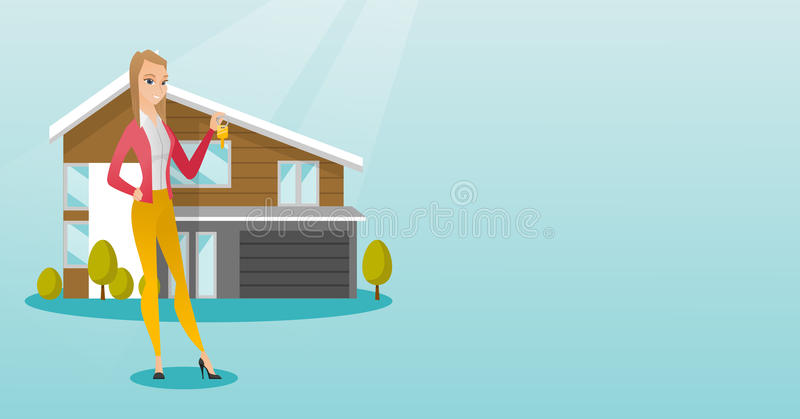 Dueño de la casa caucásico joven con llave libre illustration