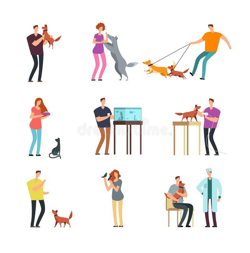 Dueño feliz del animal doméstico de la gente El hombre, las mujeres y el entrenamiento de la familia y el jugar con los animales  ilustración del vector