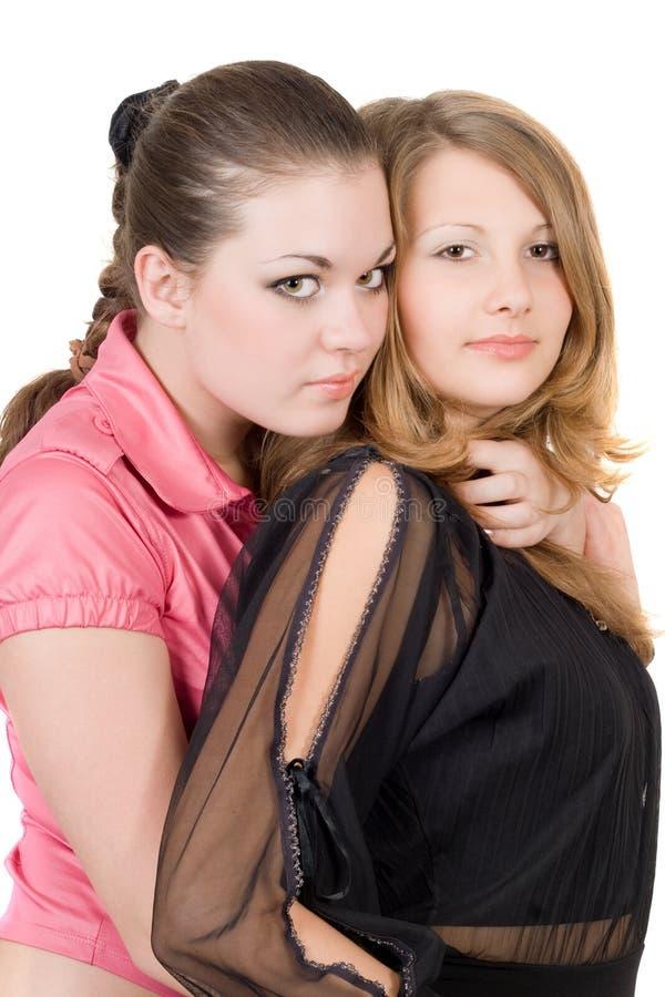Due abbastanza giovani donne immagini stock