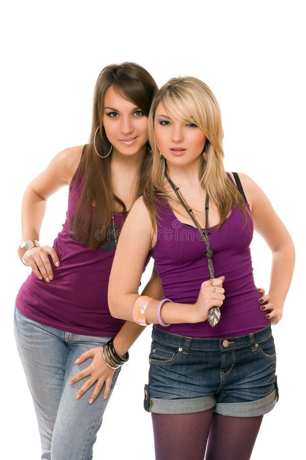 Due abbastanza giovani signore fotografie stock libere da diritti