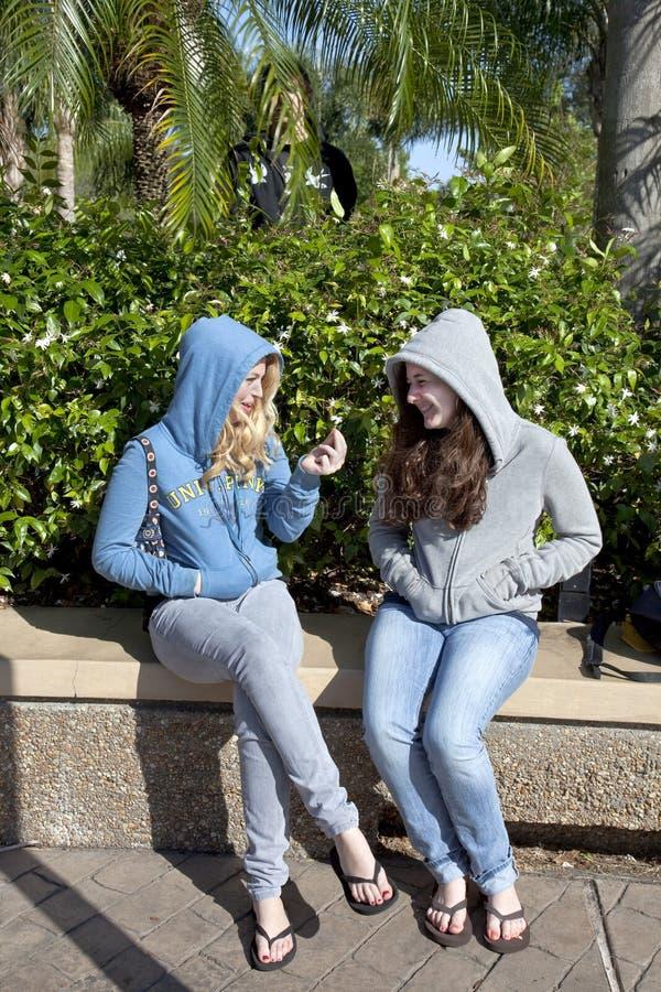 Due adolescenti che comunicano, un ragazzo omesso immagine stock libera da diritti