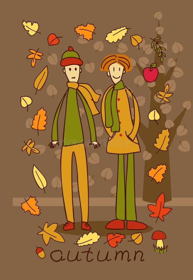 Due adolescenti nella foresta di autunno illustrazione di stock