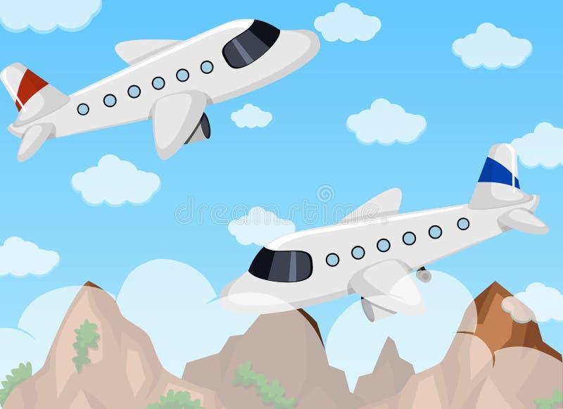 Due aeroplani che volano nel cielo illustrazione vettoriale