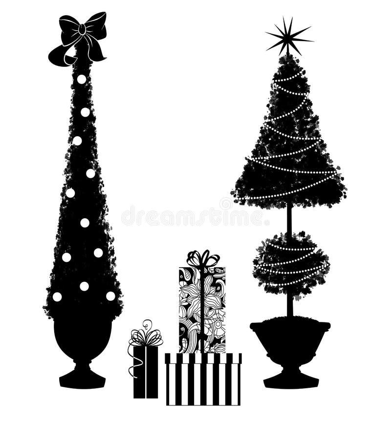 Due alberi dell'ars topiaria di Natale con i regali illustrazione di stock