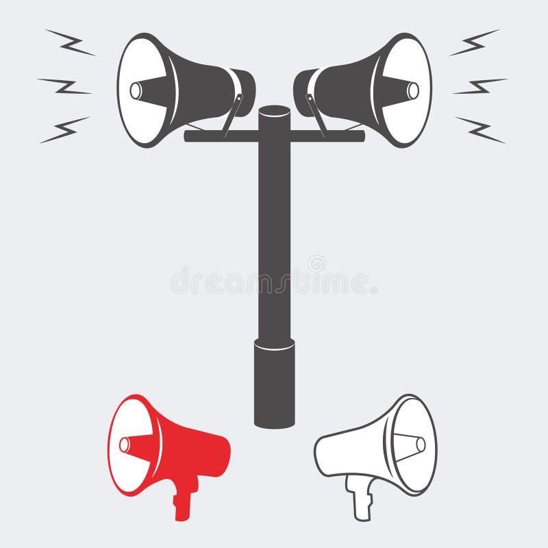 Due altoparlanti industriali di annuncio o dell'allarme illustrazione di stock