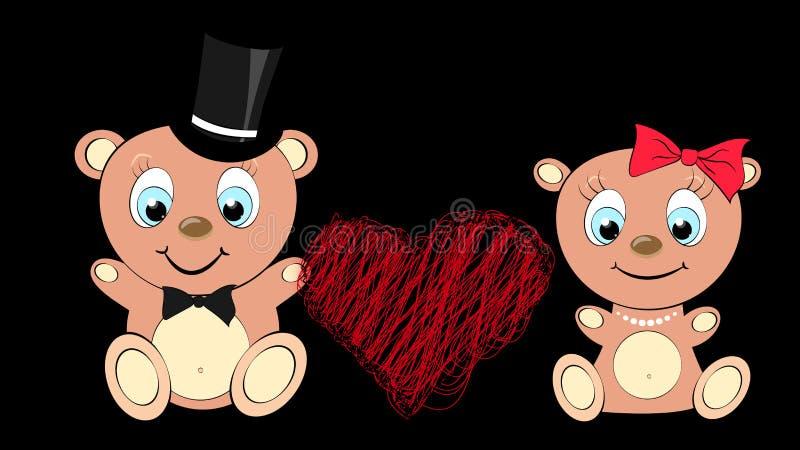 Due amanti svegli, ragazza dell'orso bruno, bella e ragazzo con la grandi testa e occhi azzurri in una collana del cilindro e del illustrazione vettoriale