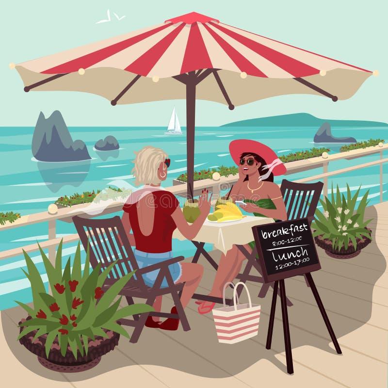 Due amiche in caffè tropicale illustrazione di stock