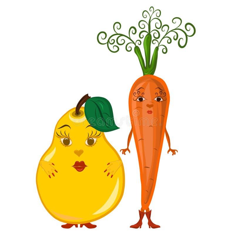 Due amiche, carote e pere sveglie con i fronti illustrazione vettoriale