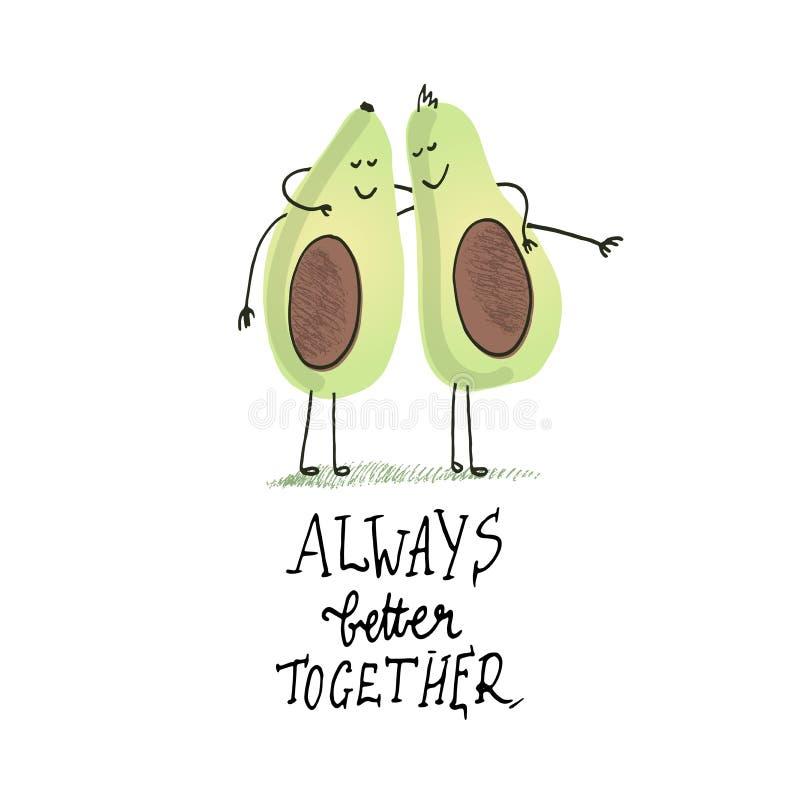 Due amici abbraccianti dell'avocado Citazione e disegno Avocado che disegna a mano illustrazione di stock