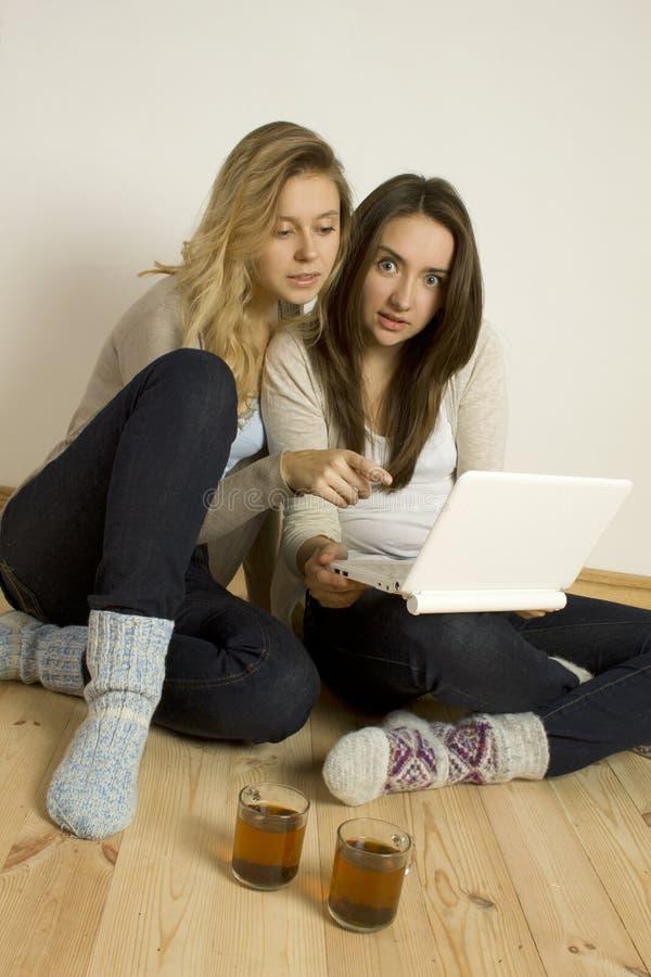 Due amici attraenti nel paese con il computer portatile fotografia stock libera da diritti