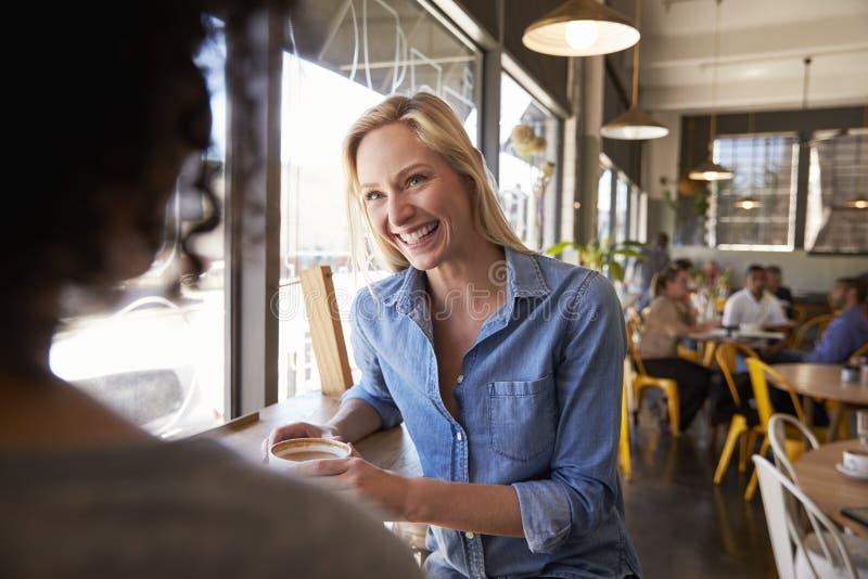 Due amici femminili che si incontrano nella caffetteria fotografie stock libere da diritti
