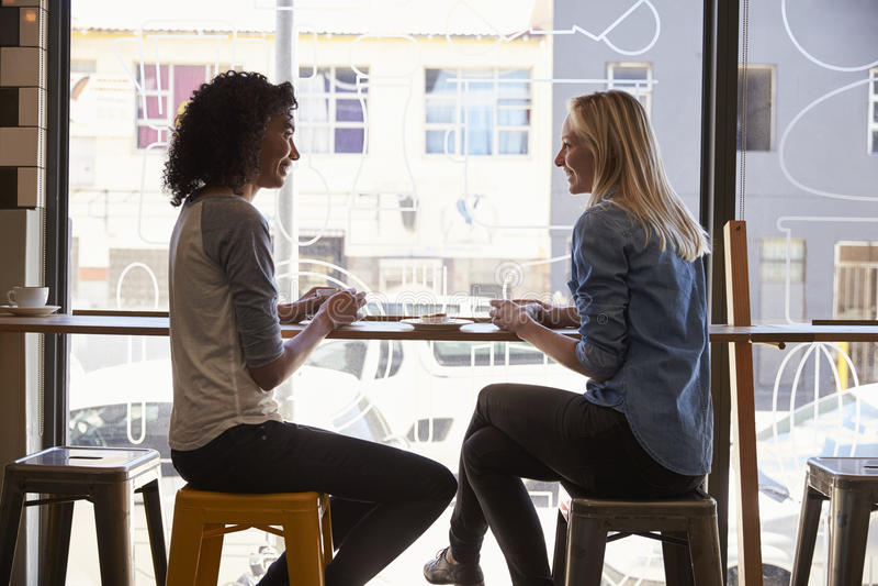 Due amici femminili che si incontrano nella caffetteria immagini stock libere da diritti