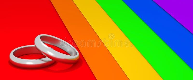 Due anelli di fidanzamento dell'oro bianco sull'arcobaleno hanno colorato l'illustrazione del fondo 3D royalty illustrazione gratis
