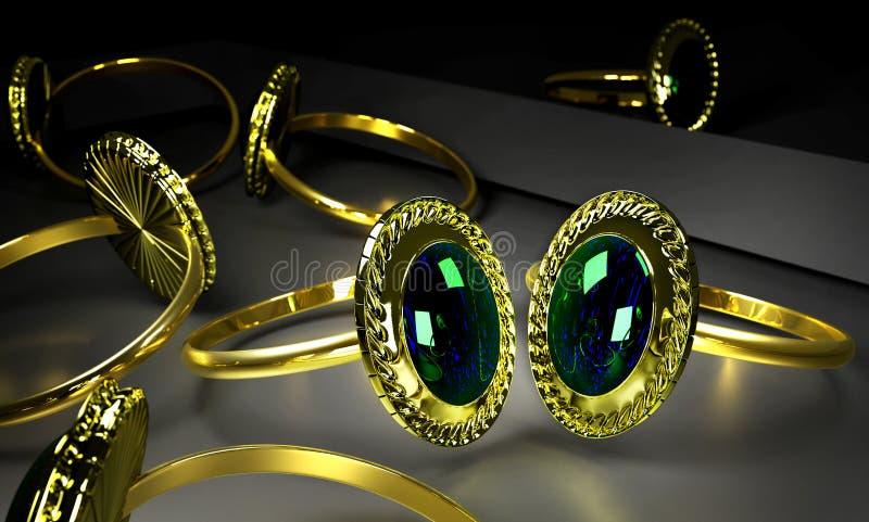 Due anelli di oro di impegno con la gemma in stanza frontale di negozio royalty illustrazione gratis