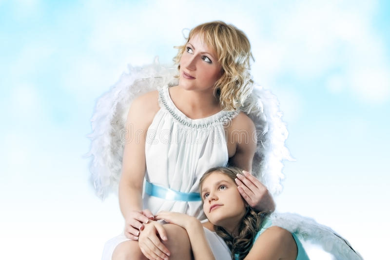 Due angeli insieme fotografie stock