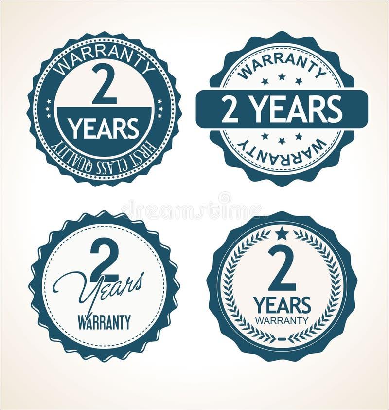 Due anni distintivo della garanzia di retro e raccolta d'annata delle etichette royalty illustrazione gratis