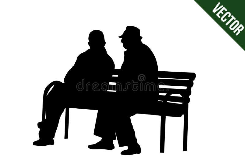 Due anziani delle siluette che si siedono su un banco di parco illustrazione vettoriale