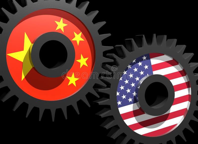 Due attrezzi con le bandierine della Cina e degli S.U.A.