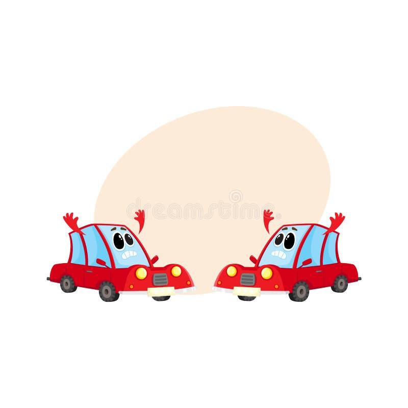 Due automobile rossa divertente, caratteri automatici assolutamente scoraggiati e disperati illustrazione vettoriale