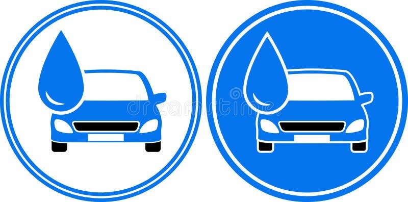 Due automobili di lavaggio con goccia di acqua illustrazione di stock