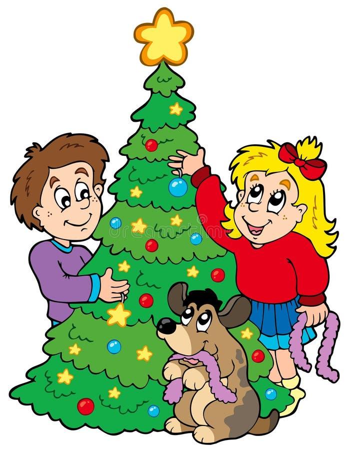 Due bambini che decorano l'albero di Natale royalty illustrazione gratis