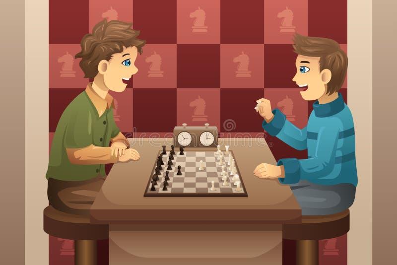 Due bambini che giocano scacchi illustrazione di stock