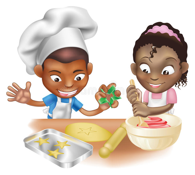 Due bambini che hanno divertimento nella cucina illustrazione di stock