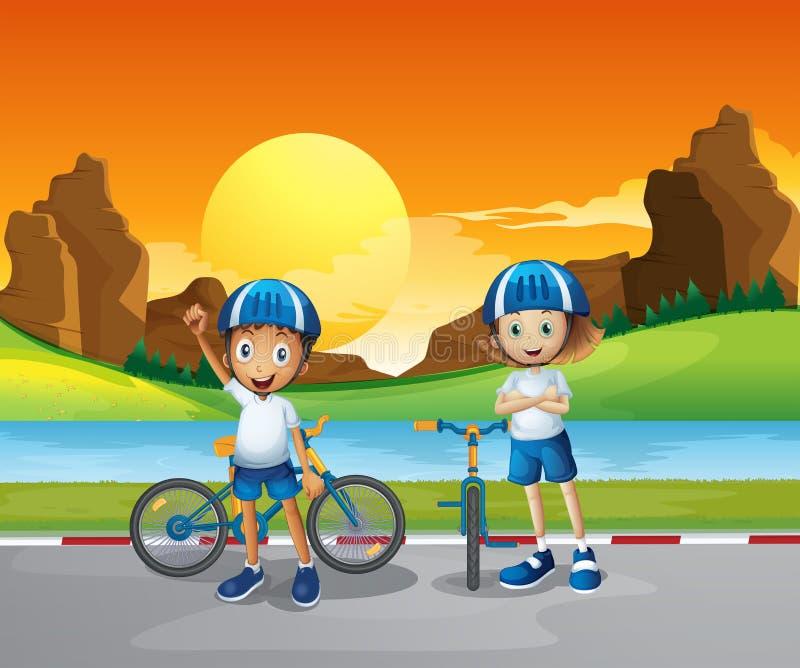 Due bambini con le loro bici che stanno alla strada vicino al fiume illustrazione vettoriale