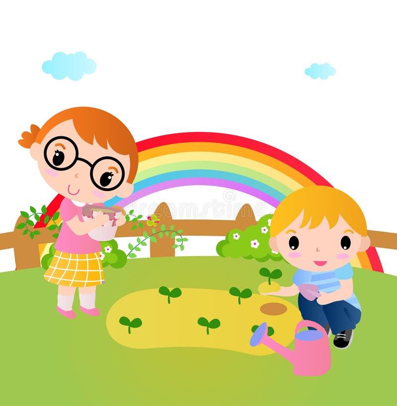Due bambini felici che piantano le piante nel giardino royalty illustrazione gratis