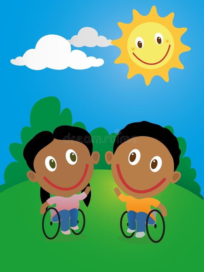 Due bambini felici in sedia a rotelle illustrazione vettoriale