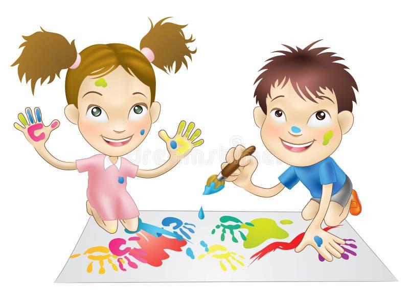 Due bambini in giovane età che giocano con le vernici illustrazione di stock