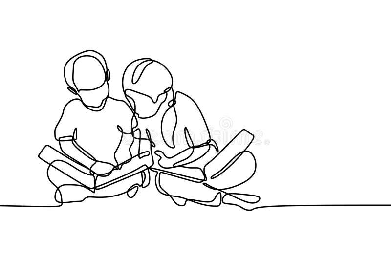 Due bambini hanno letto continuo stile del libro di minimalismo dell'illustrazione di vettore del disegno a tratteggio illustrazione vettoriale