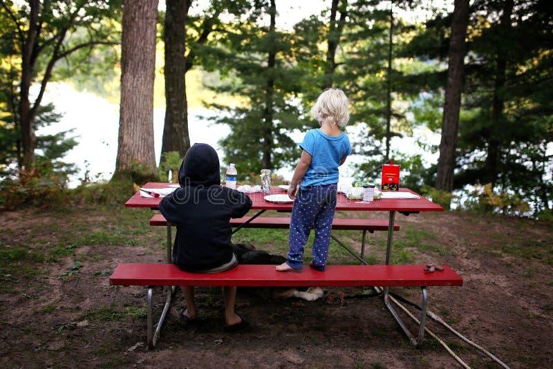 Due bambini piccoli e cani di animale domestico che hanno picnic fuori nel lago di trascuratezza campground in legno immagini stock
