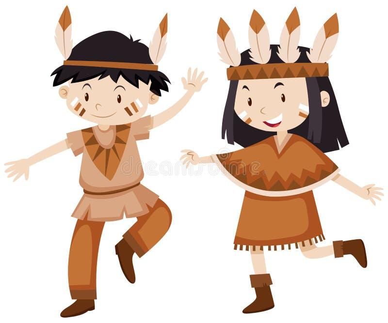Due bambini vestiti come indiani royalty illustrazione gratis