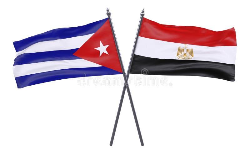 Due bandiere attraversate illustrazione vettoriale