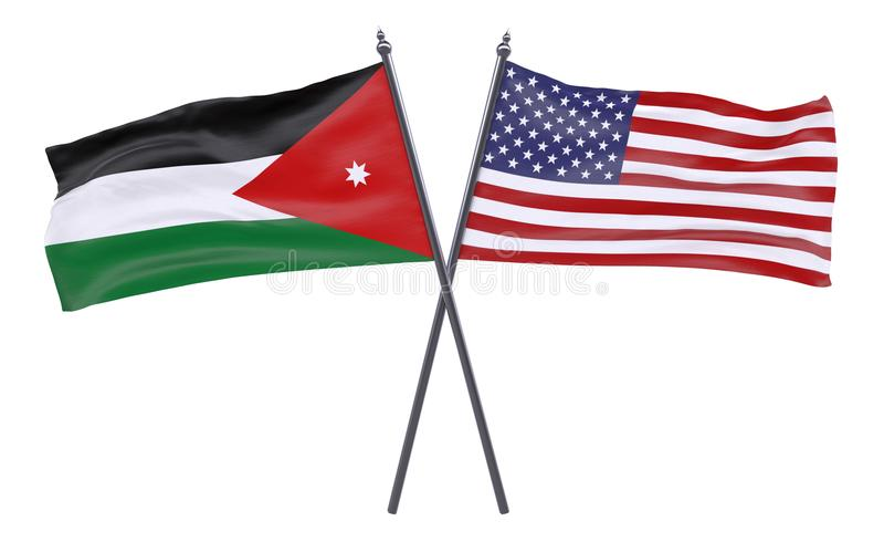 Due bandiere attraversate illustrazione di stock
