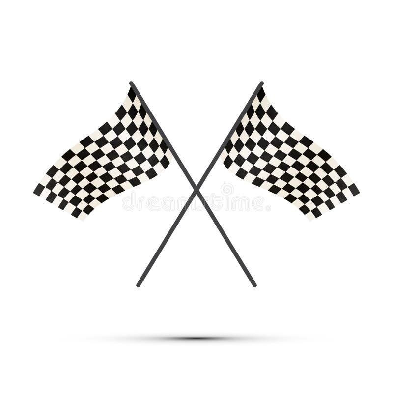 Due bandiere attraversate di rivestimento con ombra su bianco royalty illustrazione gratis