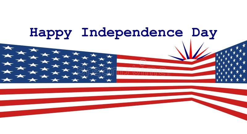 Due bandiere degli Stati Uniti nella prospettiva con la festa dell'indipendenza felice royalty illustrazione gratis