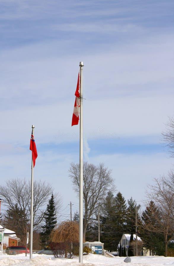 Due bandiere e Pali fuori in cieli nuvolosi blu di inverno fotografia stock
