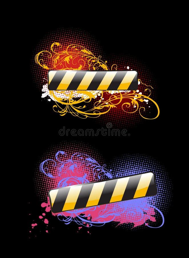 Due bandiere vibranti di colore di incandescenza illustrazione vettoriale