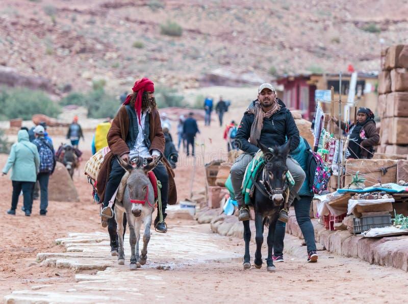 Due beduini guidano gli asini e parlano l'un l'altro nel PETRA vicino alla città di Wadi Musa in Giordania immagine stock