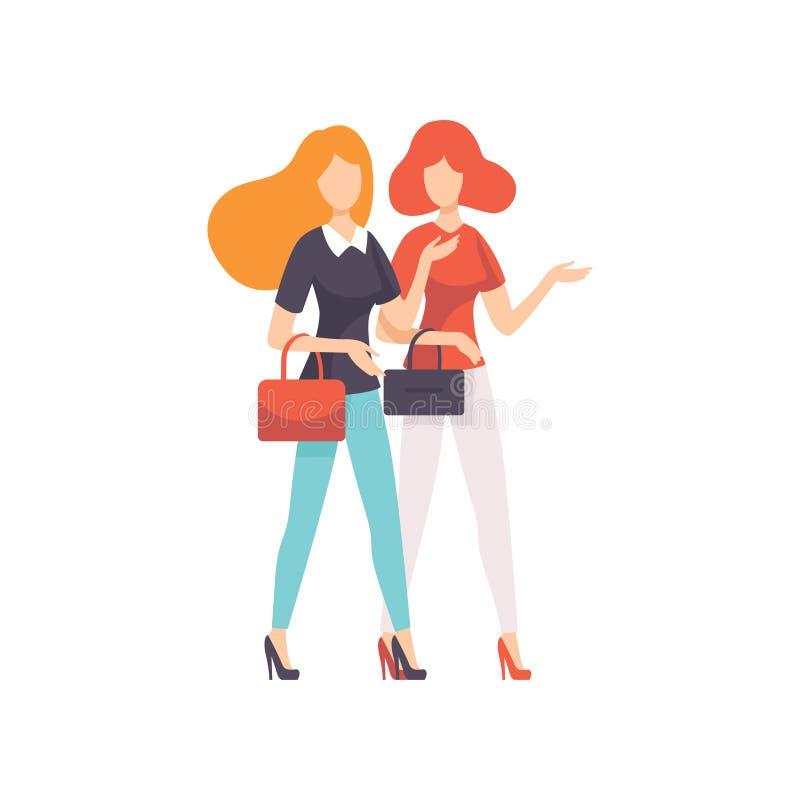 Due bei amici delle donne che camminano insieme o che comperano, illustrazione femminile di vettore di amicizia royalty illustrazione gratis