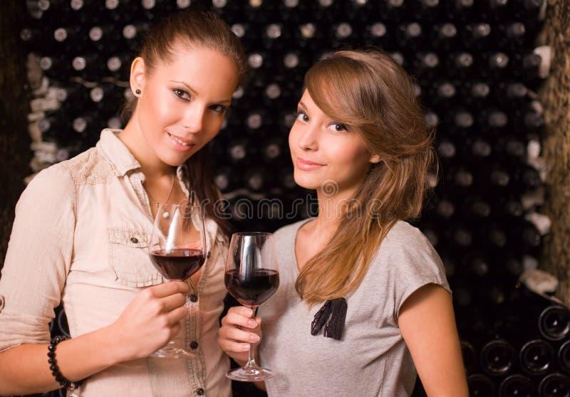 Due bei brunettes che assagiano vino. fotografie stock